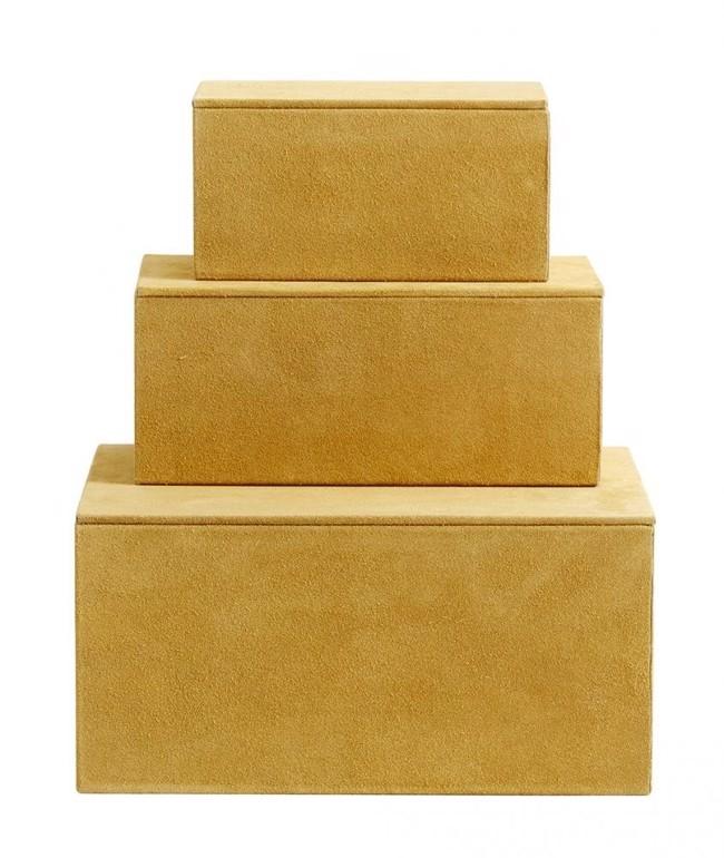 Image of   Opbevaringsbokse i ruskind fra Nordal sæt m/3 styk - Mustard gul