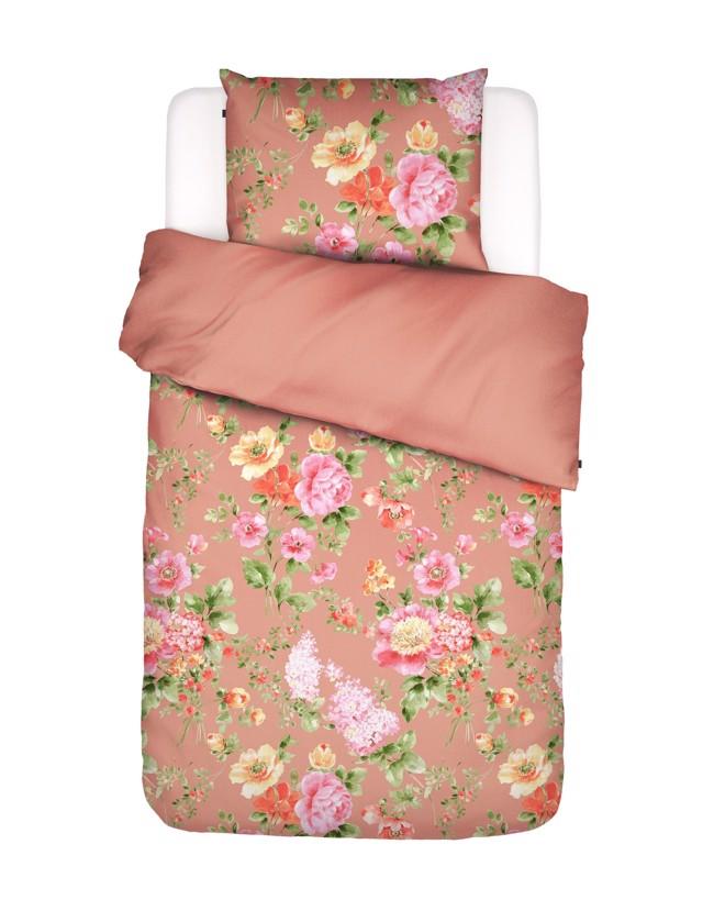 Image of   Claudi sengesæt med blomster, koral, flere størrelser fra Essenza