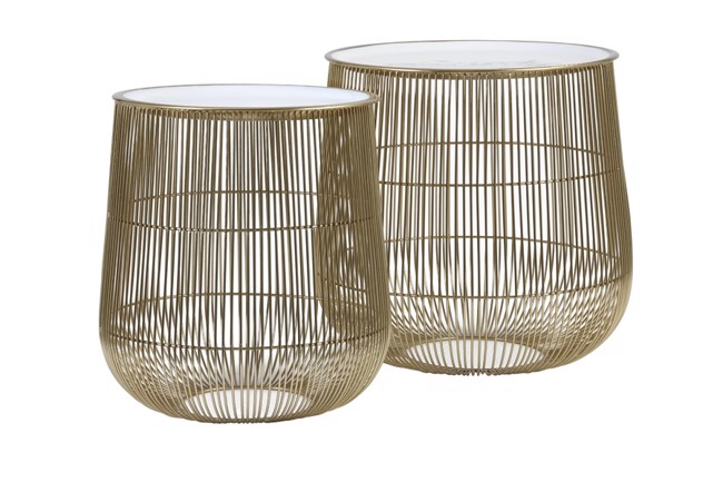 Billede af Suno sæt med 2 sideborde - Hvid/bronze fra Light & Living