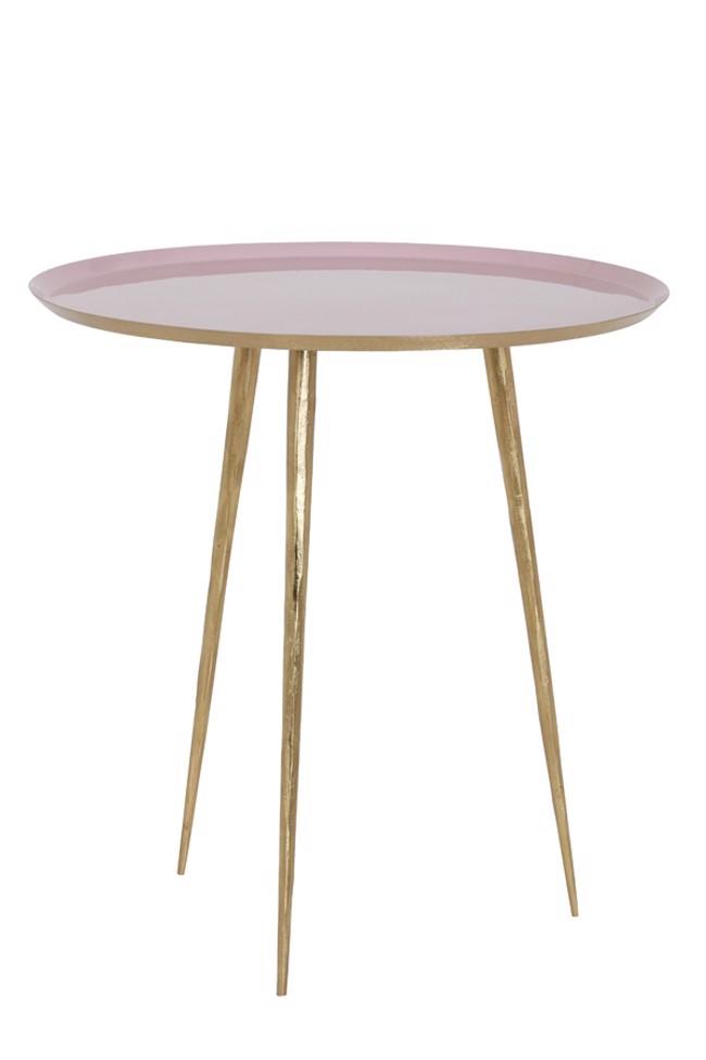 Billede af Lagino sidebord - Pink/guld - Ø45 cm fra Light & Living