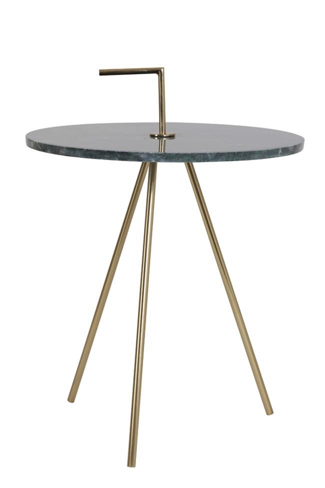 Billede af Moyuti sidebord i marmor - Grøn/gylden - Ø42,5 cm fra Light & Living