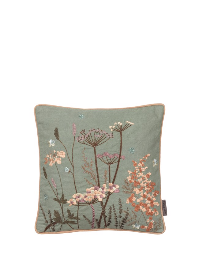 Image of   Broderet pude Maja 30x30 cm - Seagrass fra Cozy Living