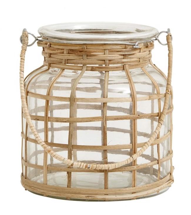 Image of   BAMBOO lanterne inkl. glas fra Nordal Højde 15 cm.