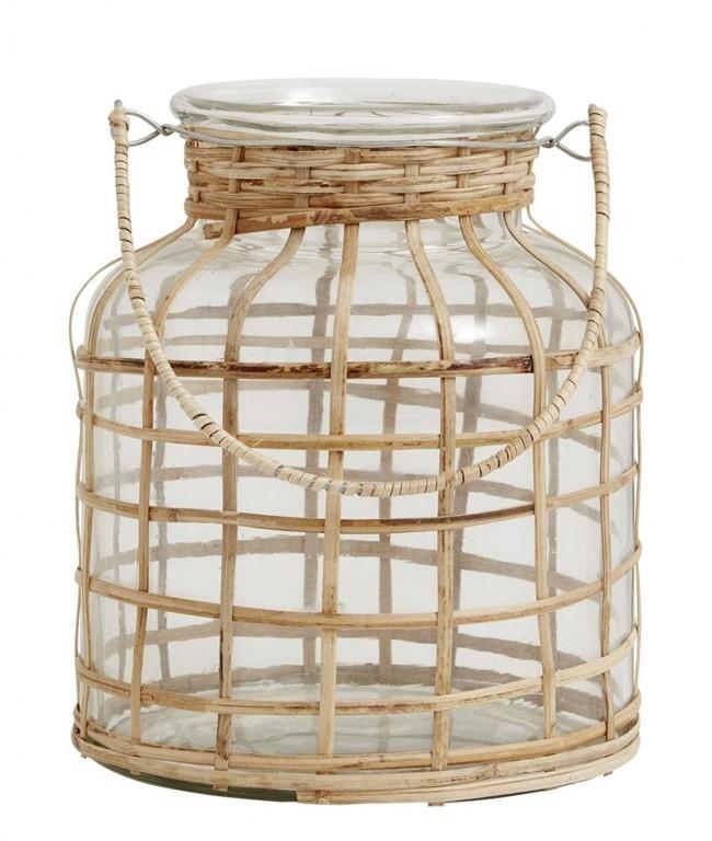 Image of   BAMBOO lanterne inkl. glas fra Nordal - Højde 21 cm