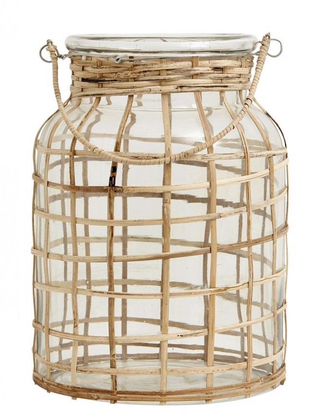 Image of   BAMBOO lanterne inkl. glas fra Nordal - Højde 27 cm