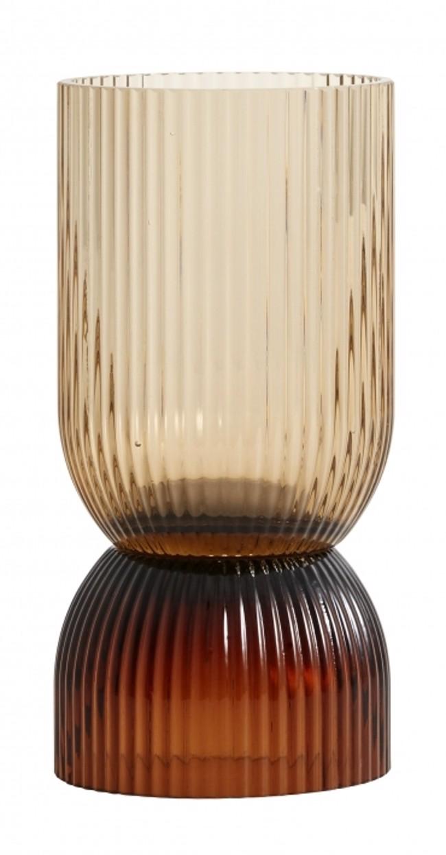 Image of   RIVA vase / lysestage str. small i brunt glas fra Nordal