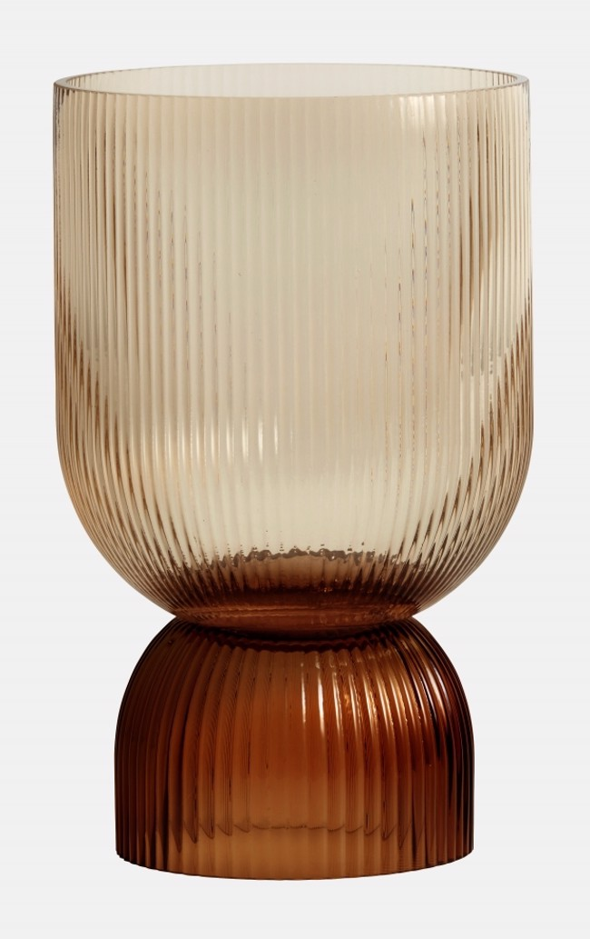 Image of   RIVA vase / lysestage str. large i brunt glas fra Nordal