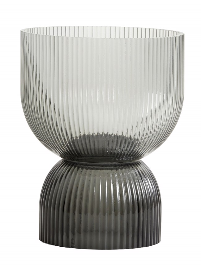 Image of   RIVA vase / lysestage str. medium i sort glas fra Nordal