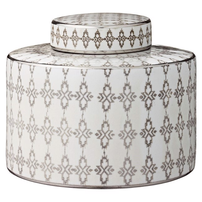Image of   Camelia keramikkrukke i grå og hvid 17 cm fra Lene Bjerre