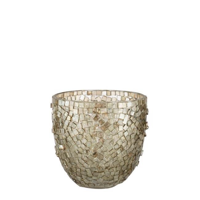Image of   Aimi fyrfadsstage med mosaikker i lys guld 10 cm fra Lene Bjerre
