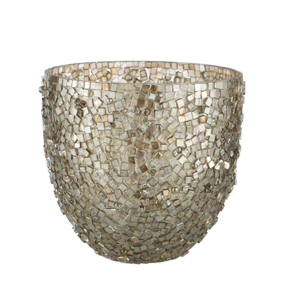 Image of Aimi fyrfadsstage med mosaikker i lys guld 15 cm fra Lene Bjerre