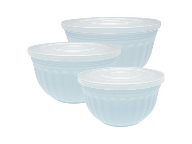 Image of   Alice sæt med 3 skåle med låg, pale blue fra GreenGate