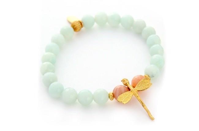 Image of   Amazonite armbånd med libelle i mint/koral/guld fra Style Heaven