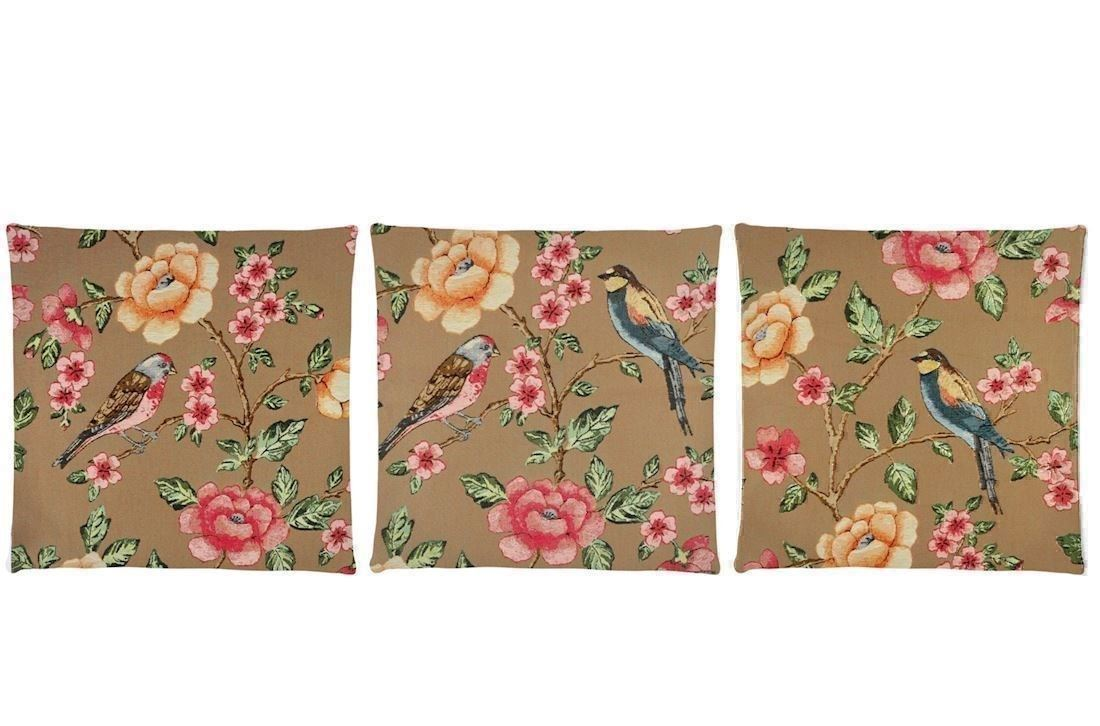 blossom bird gobelinpude med blomster og fugle assorteret 45x45 cm fra fs home collection. Black Bedroom Furniture Sets. Home Design Ideas