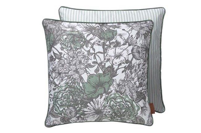 Image of   Cotton flower striped pude 50x50 cm i farven Moss fra Cozy Living