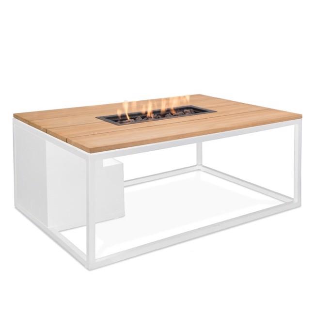 Image of   Firepit havebord med pejs 120 cm - Hvid/Teak - fra Cosi