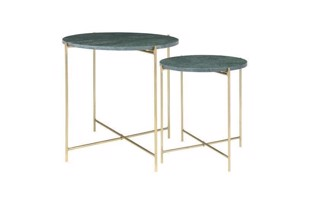 Freja marble table set i farven green/brass fra Cozy Living