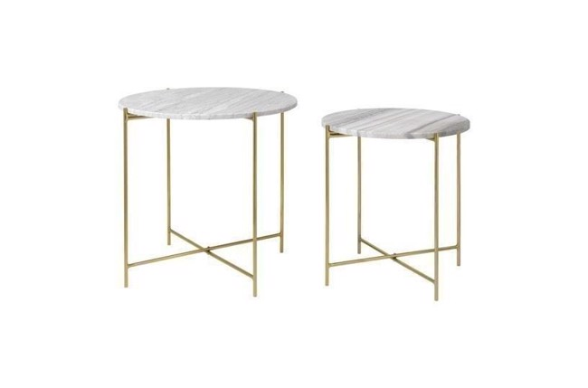 Image of   Freja marble table set i farven beige/brass fra Cozy Living