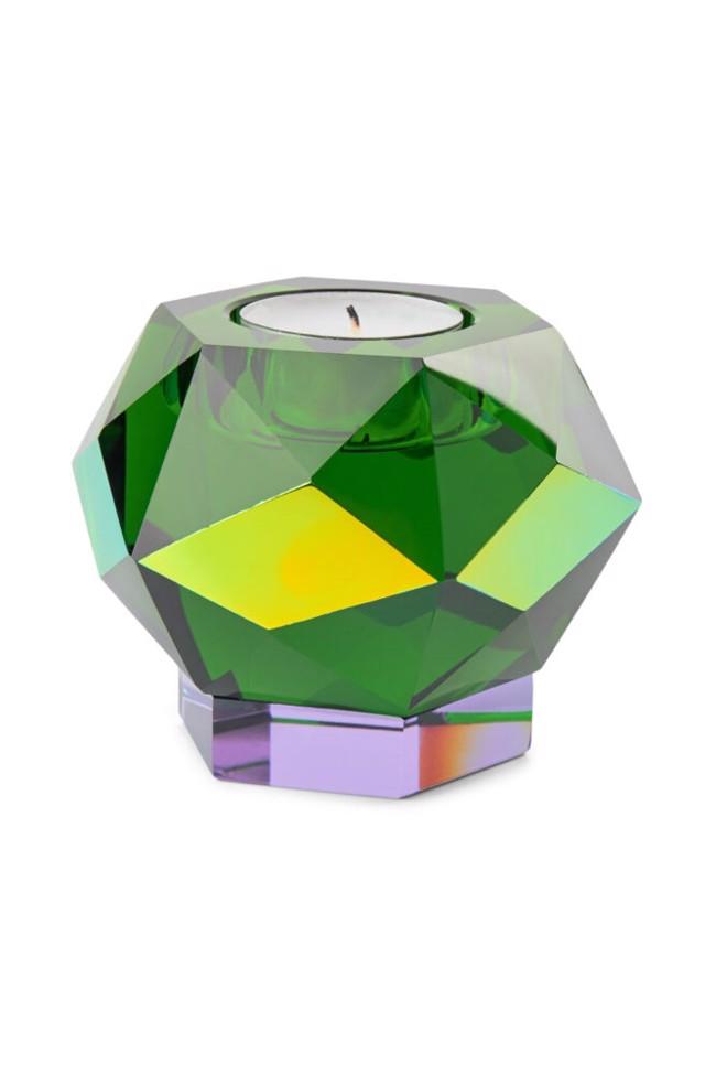 Image of   Glam fyrfadslysestage i grøn krystal fra Eden Outcast