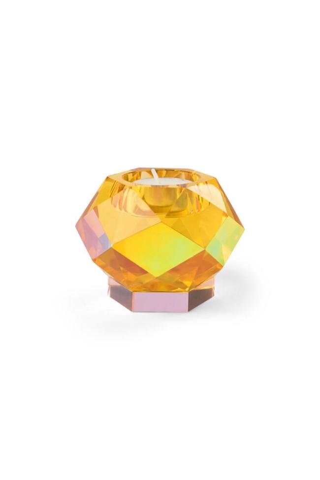Image of   Glam fyrfadslysestage gul krystal fra Eden Outcast