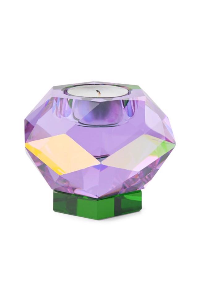 Image of   Glam fyrfadslysestage i lilla krystal fra Eden Outcast