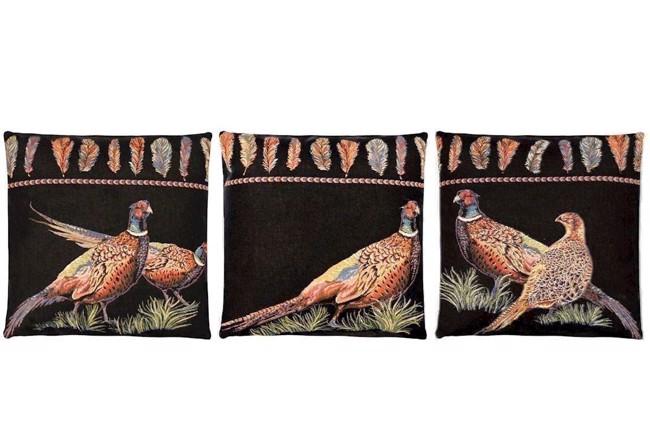 pheasant feathers gobelinpude med fasaner assorteret 45x45 cm fra fs home collection. Black Bedroom Furniture Sets. Home Design Ideas
