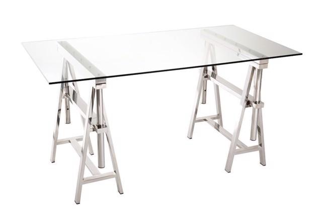 Image of   Hardy skrivebord i glas og stål 80x150 cm fra J-Line