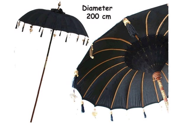 Image of   Bali haveparasol sort med pynt Ø 200 cm