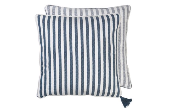 Image of   Heavy Herringbone Cotton pude i farven Ocean fra Cozy Living