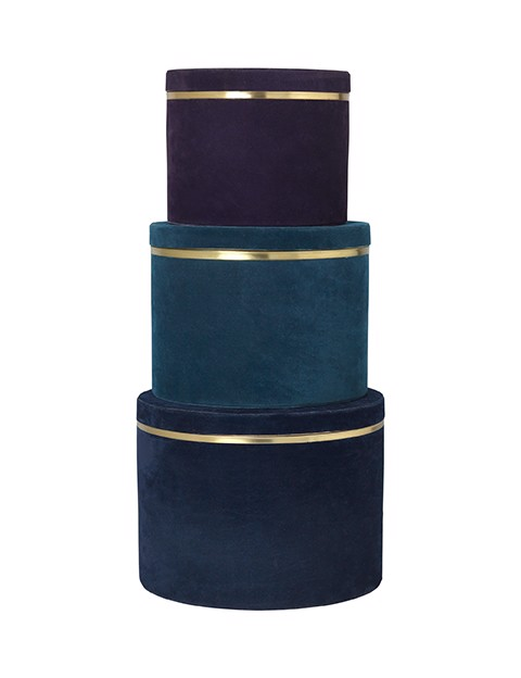 Image of   Heidi boxe - sæt med 3 stk i blå velour fra Cozy Living