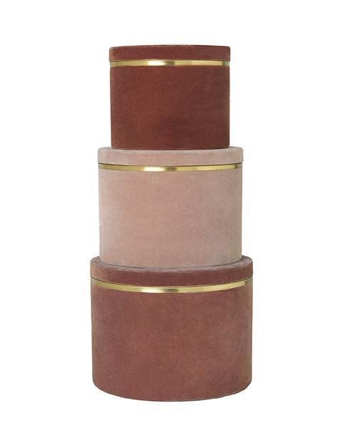 Image of   Heidi boxe - sæt med 3 stk i rouge velour fra Cozy Living