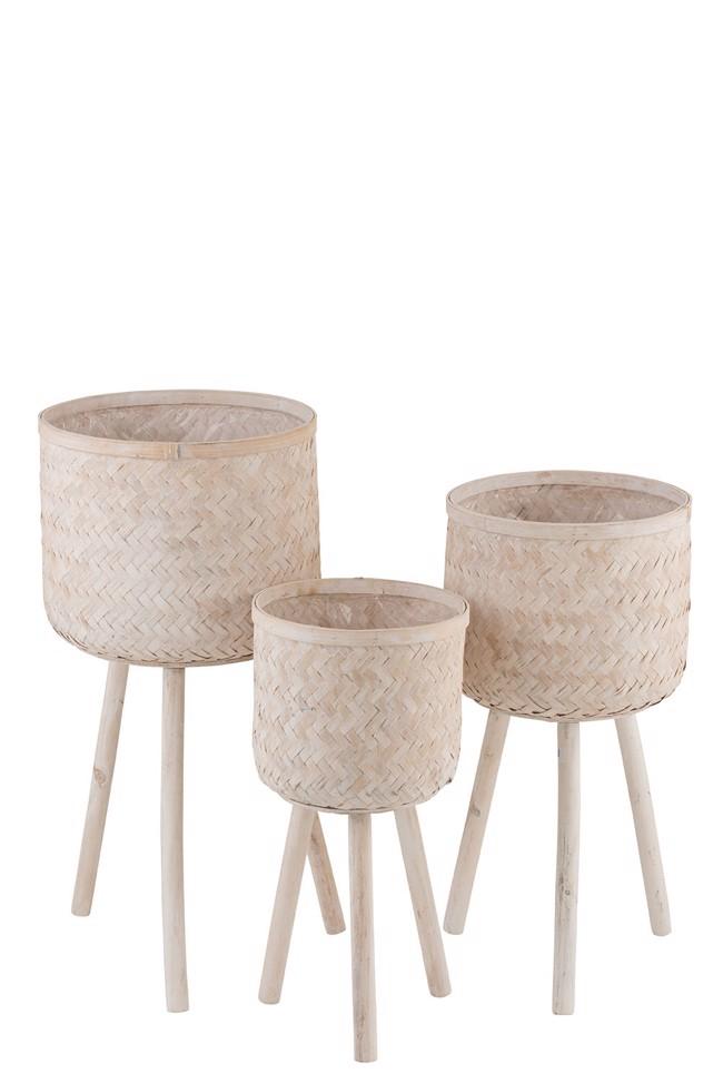 Image of   Holly potteskjulere i bambus - sæt med 3 stk. fra J-Line