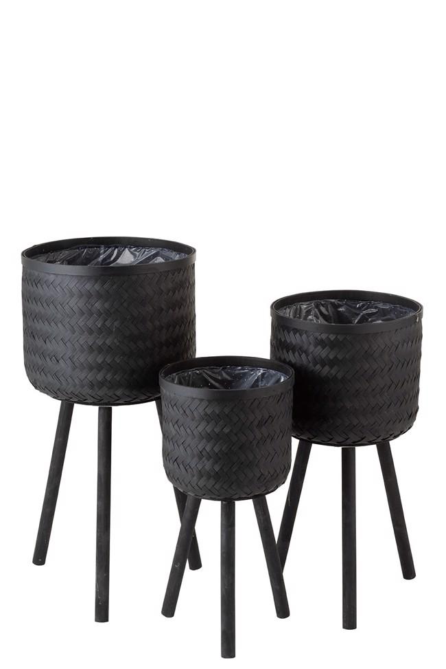 Image of   Holly potteskjulere i sort bambus - sæt med 3 stk. fra J-Line