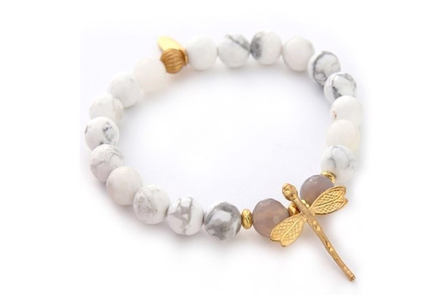 Image of   Howlite armbånd med libelle fra Style Heaven