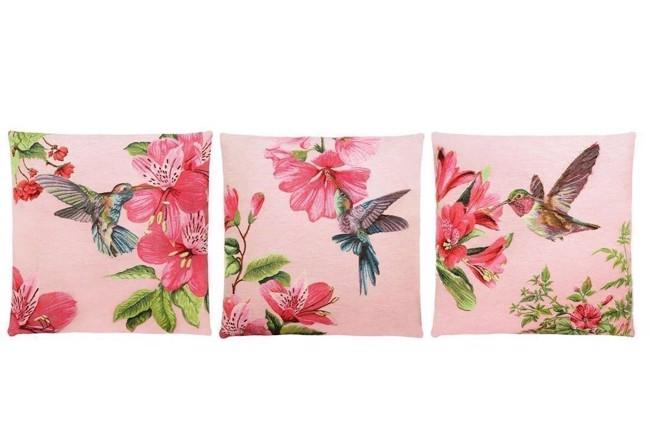 hummingbirds gobelinpude med kolibri pink 45x45 cm fra fs home collection. Black Bedroom Furniture Sets. Home Design Ideas