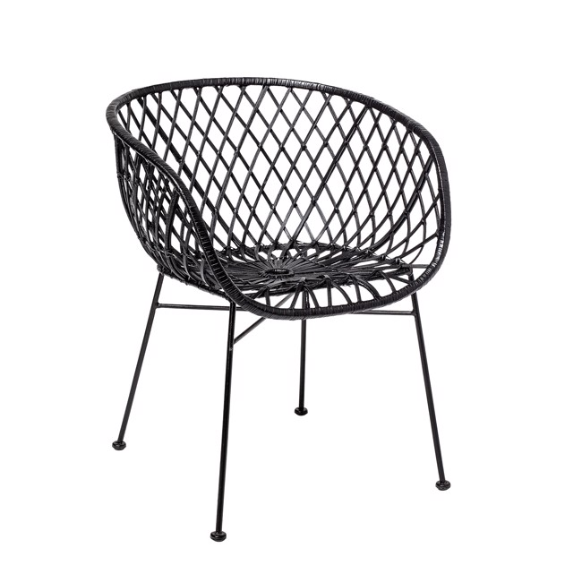 Image of   Kama Lounge Stol, Sort, Rattan fra Bloomingville