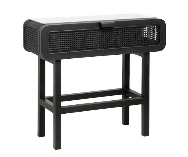 Image of   Konsolbord i teaktræ med glas - 90x35 - sort fra Nordal