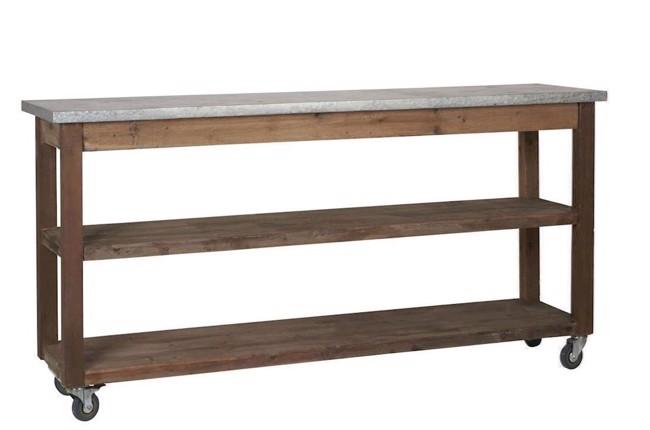 Image of   Konsolbord med zink toplade og 2 hylder fra Ib Laursen
