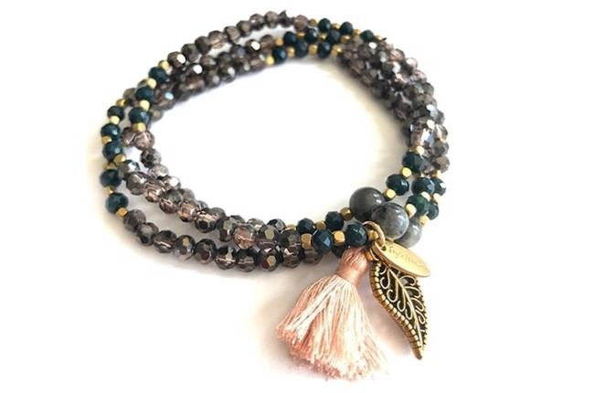 Image of   Kristall armbånd triple smoke & gold fra Style Heaven