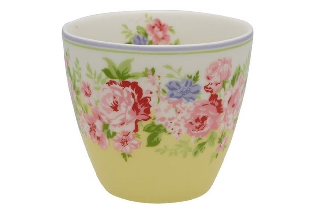 Image of   Greengate lattekop - Latte cup rose pale yellow