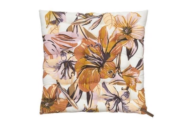 Image of   Lily flower cotton seat pad hynde i farven magnolia 40x40 fra Cozy Living