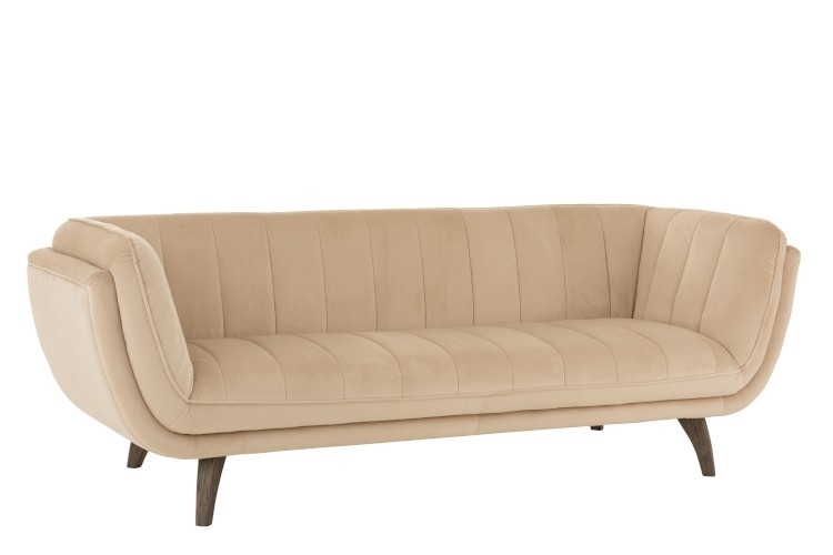 Lina velour sofa 3 personer – Beige – L215 cm fra J-Line