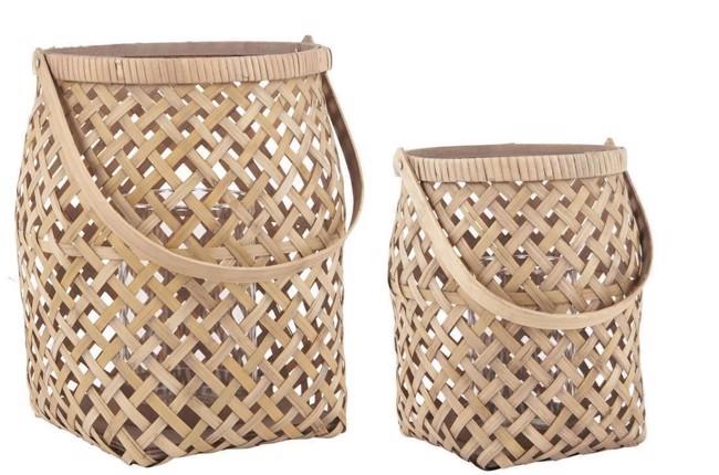 Image of   Lygtesæt 2 stk. i bambus med glasindsats fra Ib Laursen