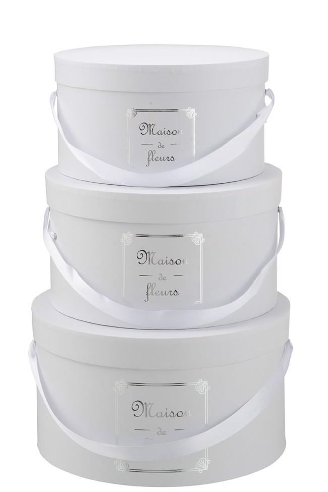 Image of   Maison de Fleur boxsæt hvide med bånd - 3 stk. fra J-Line