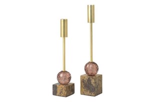 Marble candle holder Emilie lysestager i farven brass/rust fra fra Cozy Living