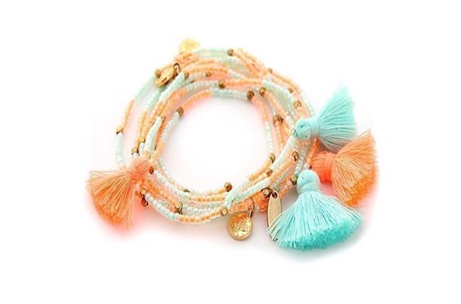 Image of   Miyuki pompom armbånd med kvaster i koral/aqua fra Style Heaven
