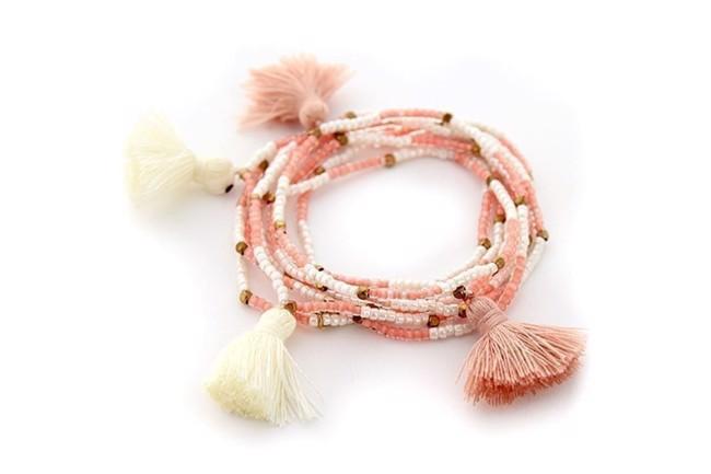 Image of   Miyuki Pom Pom armbånd i pink og creme fra Style Heaven