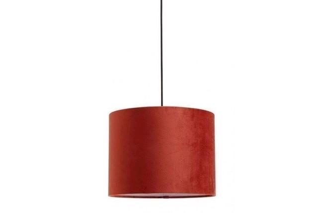 Image of   Lampeskærm i velour - Ø33 cm - rød orange fra Nordal