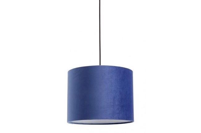 Image of   Lampeskærm i velour - Ø33 cm - blå fra Nordal