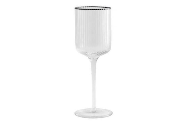 Image of   Rilly hvidvinsglas med sølvkant - pakke med 6 stk. fra Nordal